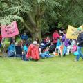 Folk from Milton Keynes sheltered under a Tree
