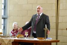 Moderator Peter presiding at the Synod Communion table for the last time